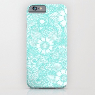 phone cover blue white henna iphone light flowers
