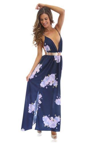 dress navy floral v plunge maxi dress