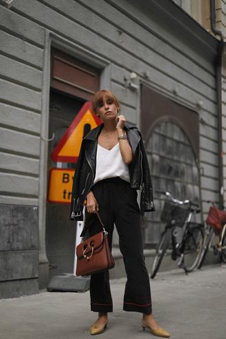 top black jacket tumblr satin camisole jacket leather jacket pants black pants wide-leg pants pajamas bag