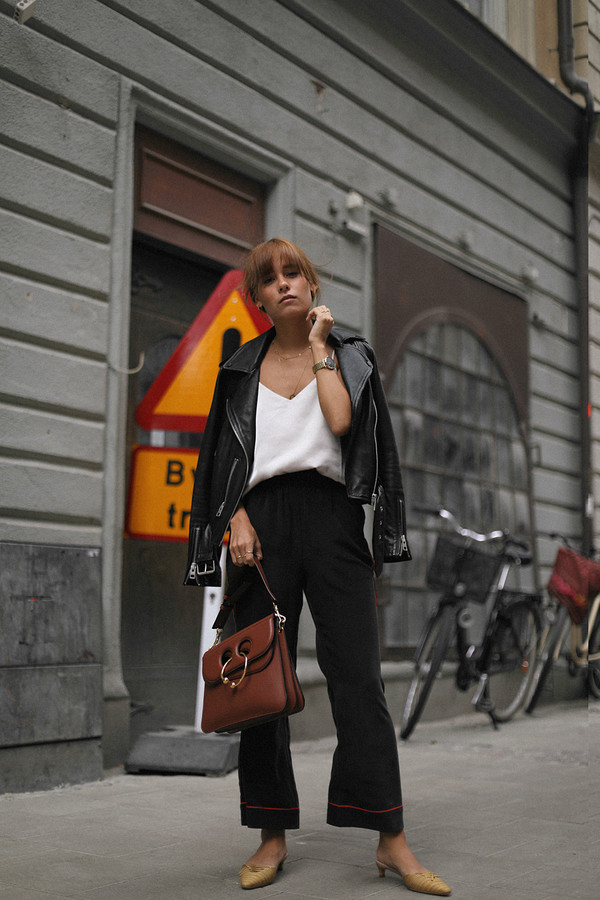 top black jacket tumblr satin camisole jacket leather jacket pants black pants wide-leg pants pajamas bag