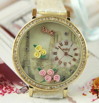 jewels gold watch flowers clock paris vintage