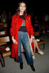 coat,red,red coat,alexa chung,jeans,fashion week,london fashion week 2018,trench coat