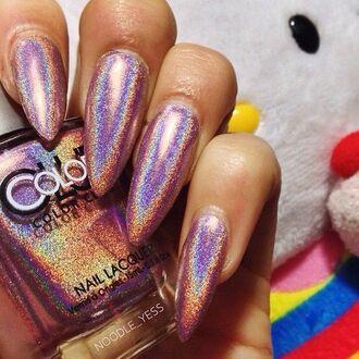 nail polish nails shiny metallic nails metallic nail art
