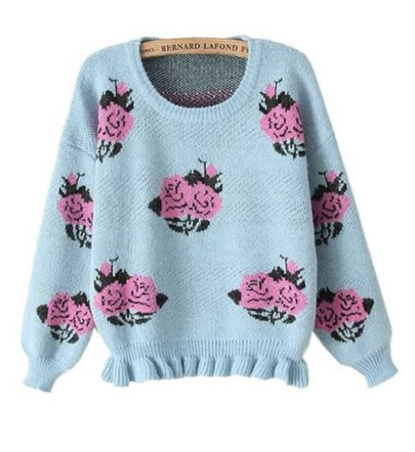 blue sweater light blue sweater peony peony blue ruffle hem sweater one size sweater www.ustrendy.com