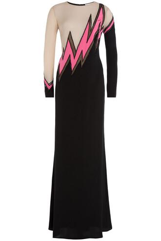 gown silk multicolor dress