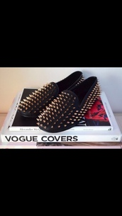 shoes,loafers,studded loafers,black,gold,studs,studded shoes,smoking slippers