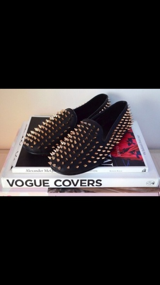 shoes loafers studded loafers black gold studs studded shoes smoking slippers