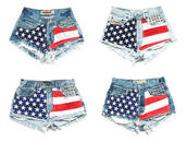 shorts,High waisted shorts,american flag,high waisted