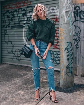 sweater green sweater blue jeans black sandals bag chanel bag knitwear knitted sweater jeans denim sandals sandal heels