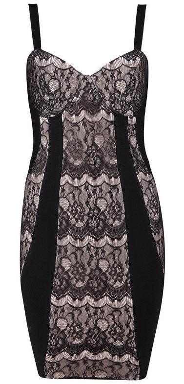 Black Nude Lace Bandage Bodycon Dress — GIRL CRUSH BOUTIQUE