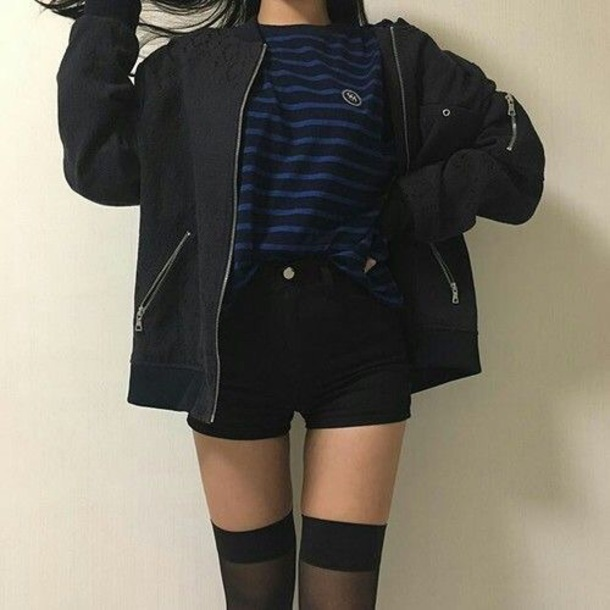 jacket black bomber jacket korean fashion top