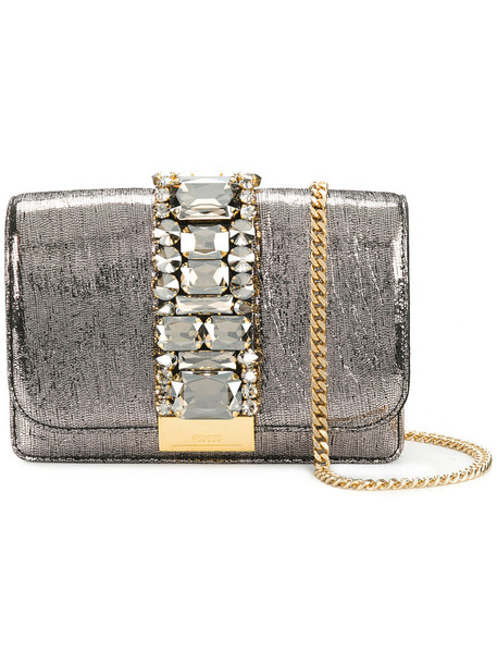 women embellished bag crossbody bag leather suede grey metallic