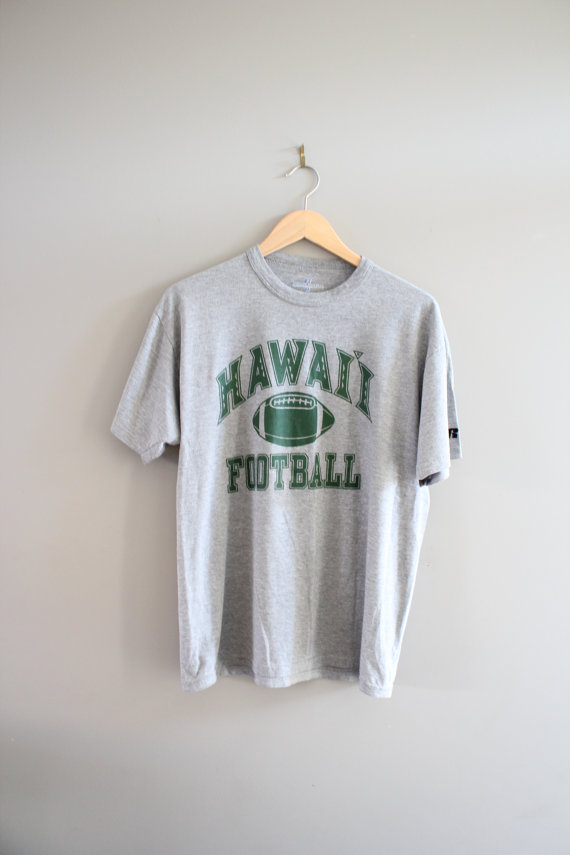 Hawaii Football Tshirt Grey Lightweight Paper Thin Cotton Comfy Vintage 90s Size M #T141A