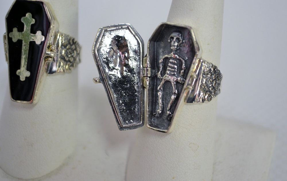 925 Sterling Silver Coffin Poison Ring with Black Enamel Sizes 7 8 9 10 11 | eBay