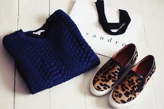 sweater blue sweater snake dark blue sandro dark blue sweater