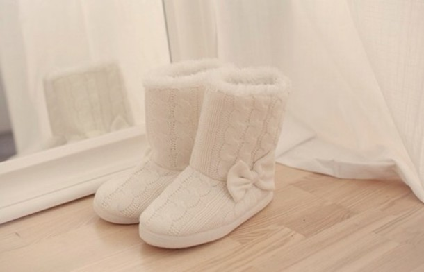 Shoes Slippers Cable Knit White Fashion Fluffy Bows Tumblr