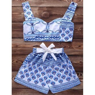 shorts short shorts crop crop tops cropped tribal pattern aztec bralette bra romper blue white fashion style