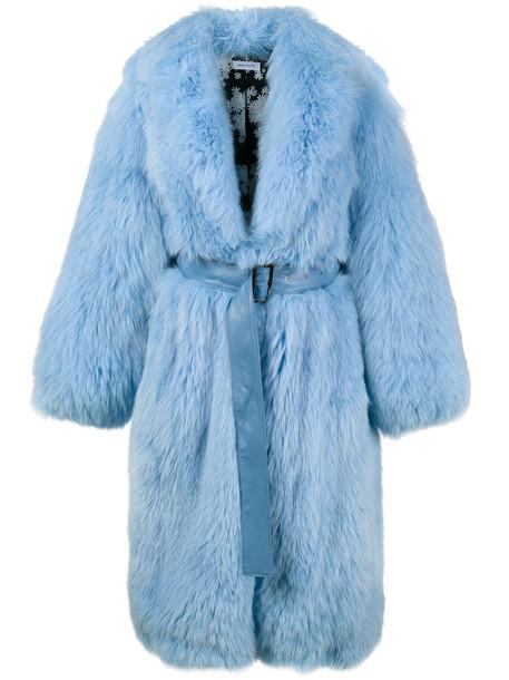 Saks Potts coat fur coat long fur coat long fur fox women blue