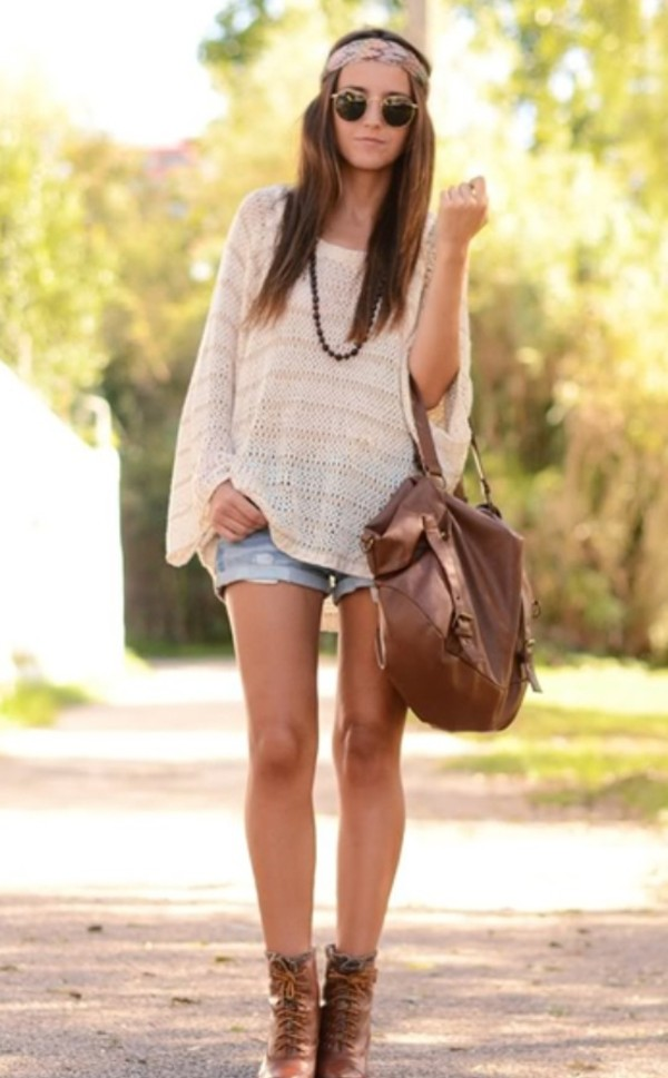 shirt long sweater long sleeves sunglasses hipster hipster jewelry headband boots shorts bag sweater