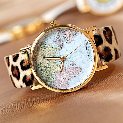World map fashion watches