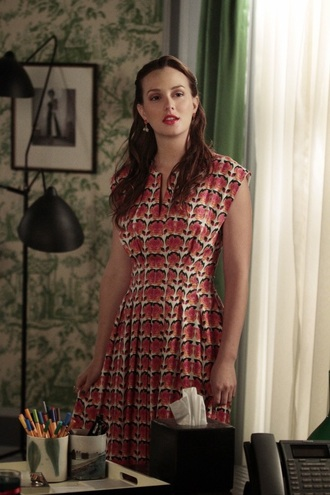 dress blair waldorf gossip girl leighton meester patterned dress pattern retro
