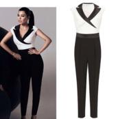pants,black,white,classic,jumpsuit,kourtney kardashian
