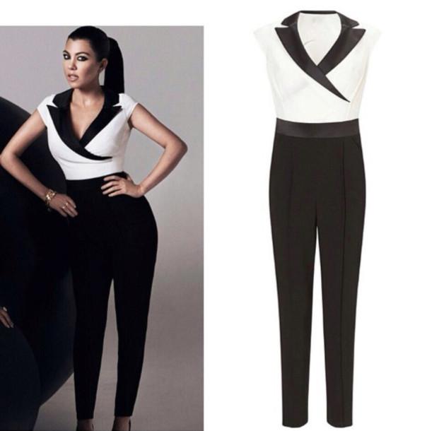 Pants Black White Classic Jumpsuit Kourtney Kardashian Wheretoget
