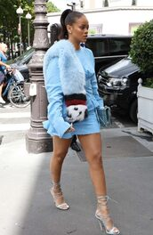 dress,blue dress,baby blue,rihanna,sandals,mini dress