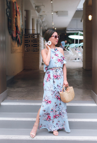 extra petite blogger dress underwear bag sunglasses jewels shoes maxi dress floral dress handbag spring outfits spring dress woven bag long dress floral slit dress basket bag sandals sandal heels high heel sandals blue dress earrings accent earrings