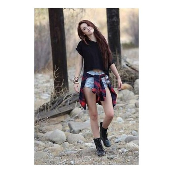 t-shirt fashion girly black and red flannel black red