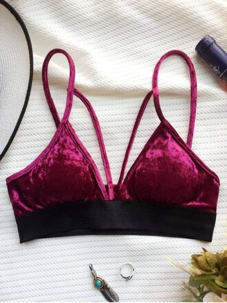 top bra strappy velvet sexy bralette burgundy red zaful