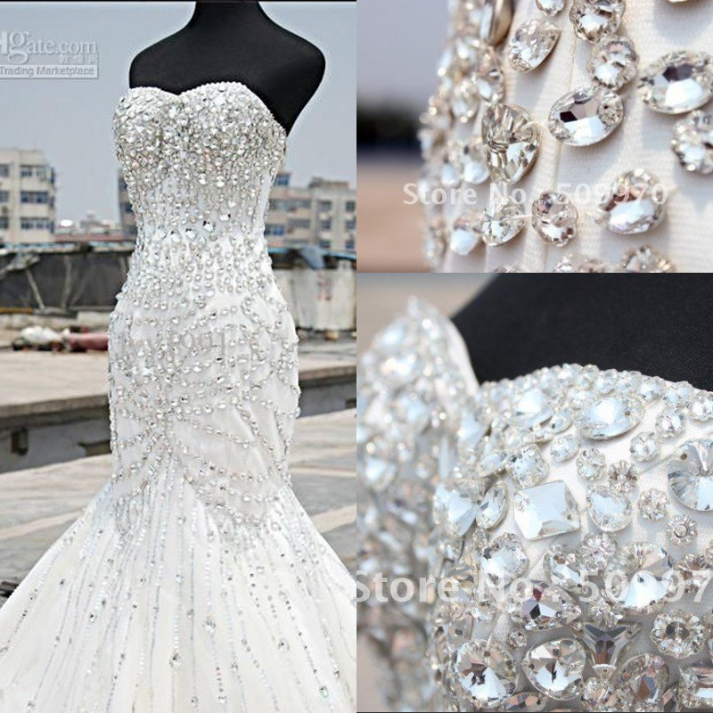 Aliexpress Buy 2014 Luxury Crystal Wedding Dress Mermaid Sweetheart Floor Length Heavily
