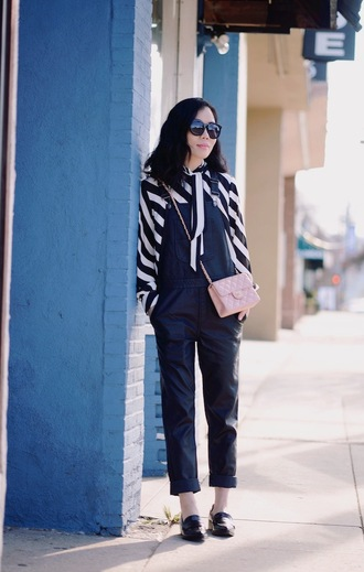 hallie daily blogger black overalls striped shirt quilted bag pink bag loafers