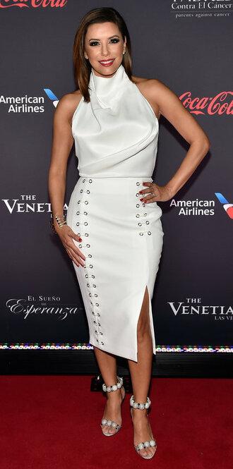 dress slit dress slit skirt eva longoria white white top white dress sandals top blouse