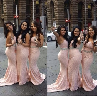 wedding dress pink dress gown tight dress diamonds earphones bridesmaid blush pink lace dresses