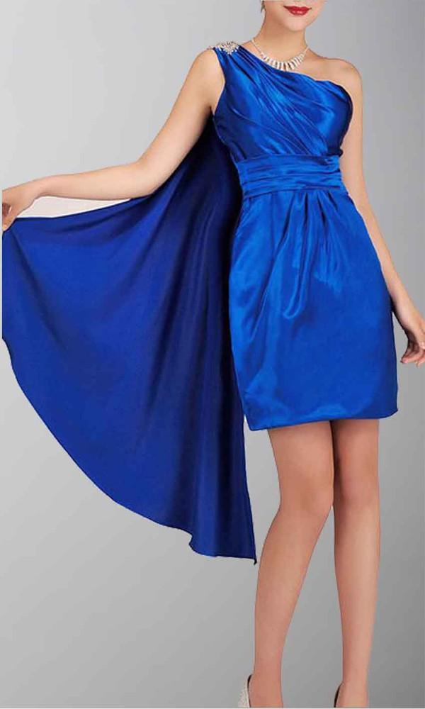 short prom dress blue dress satin dress satin one shoulder dresses sheath column