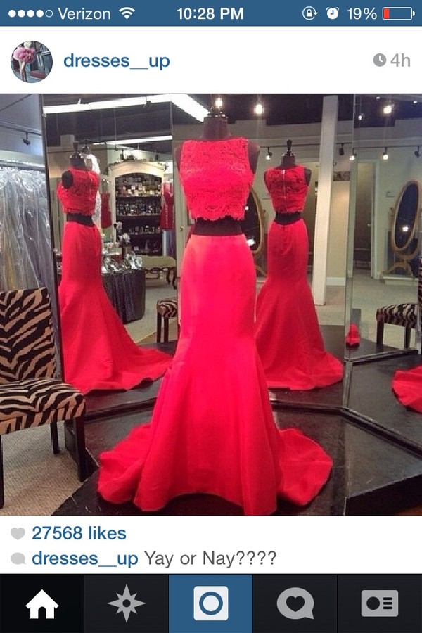 dress red two two-piece lace mermaid tight two-piece two-piece mermaid prom dress mermaid prom dress red prom dress