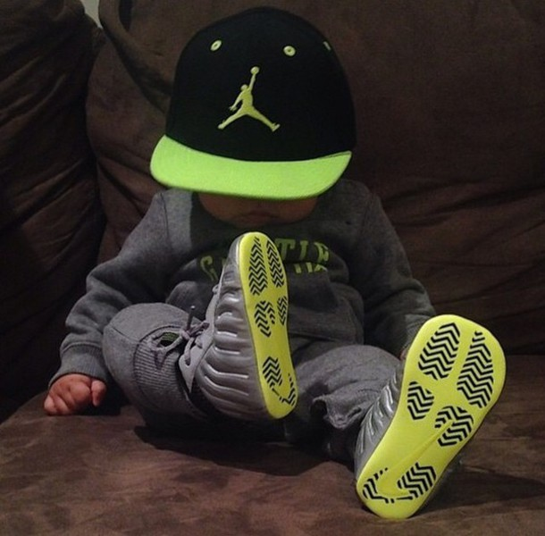 Kids Fashion Fashion Cap Grey Green Neon Jordans