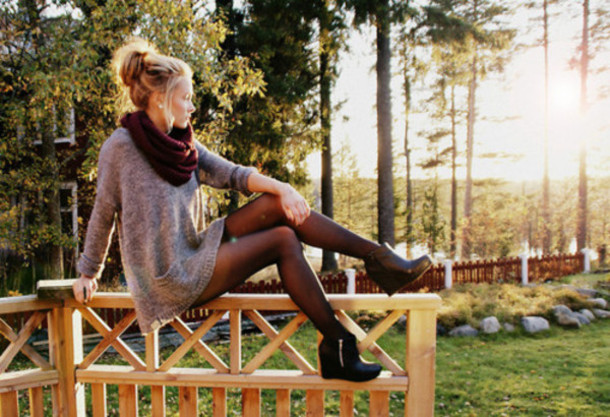 dress sweater dress grey pockets wool tights infinity high heels booties shoes scarf sweater