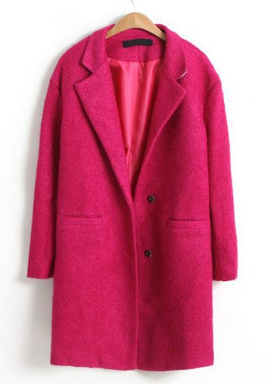 Free Shipping 2013 Autumn/Winter Women's High Quality New Stylish Cool Hot Rose Red Notch Lapel Long Sleeve Coat-in Wool & Blends from Apparel & Accessories on Aliexpress.com