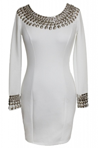 dress studded round neck dress date outfit sexy dress classy wots-hot-right-now white white dress bodycon dress studs studded dres long sleeves party dress classy dress evening dress cocktail dress chic