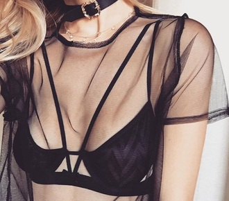 shirt black mesh top mesh