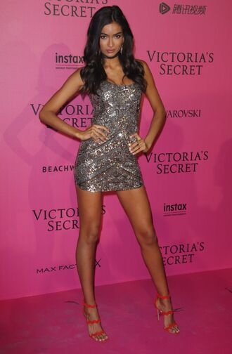 dress mini dress kelly gale model silver sequins sandals sandal heels victoria's secret victoria's secret model
