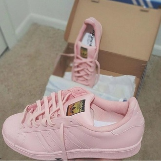 shoes adidas adidas superstars pink sneakers low top sneakers