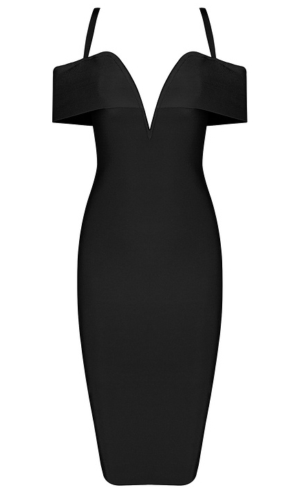 Sweetheart Bardot Bandage Dress Black