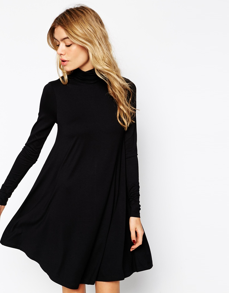 a00ceb846e95 ASOS Swing Dress with Polo Neck and Long Sleeves at asos.com
