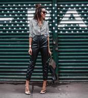 shoes,slingbacks,high heel sandals,high waisted pants,leather pants,leopard print,shirt,sunglasses,handbag