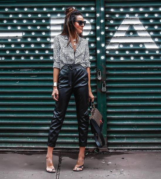 shoes slingbacks high heel sandals high waisted pants leather pants leopard print shirt sunglasses handbag