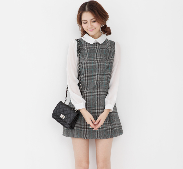 England Plaid Woolen Stitching Chiffon Sleeves Doll Dress Lapel Collar Chiffon College Wind Sweet Dress-in Dresses from Apparel & Accessories on Aliexpress.com