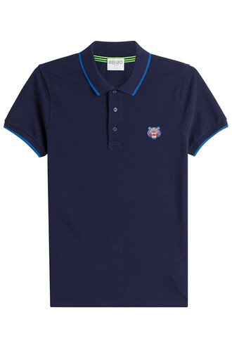 shirt polo shirt cotton blue top